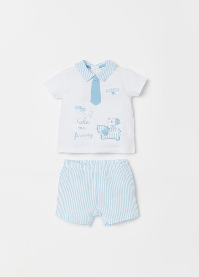 Set with T-shirt and shorts with stripes pattern