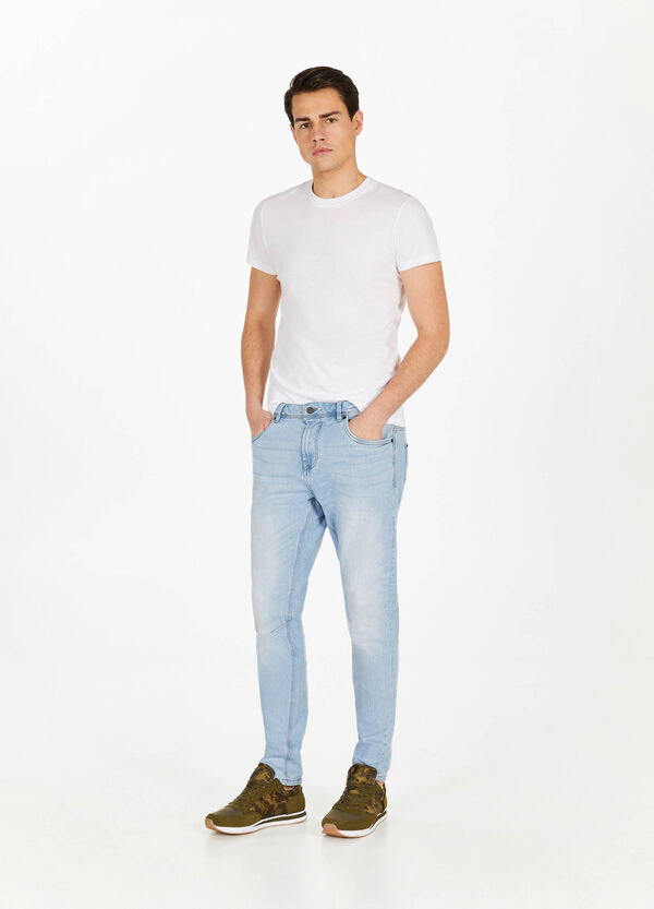 Jeans loose fit stretch baffature