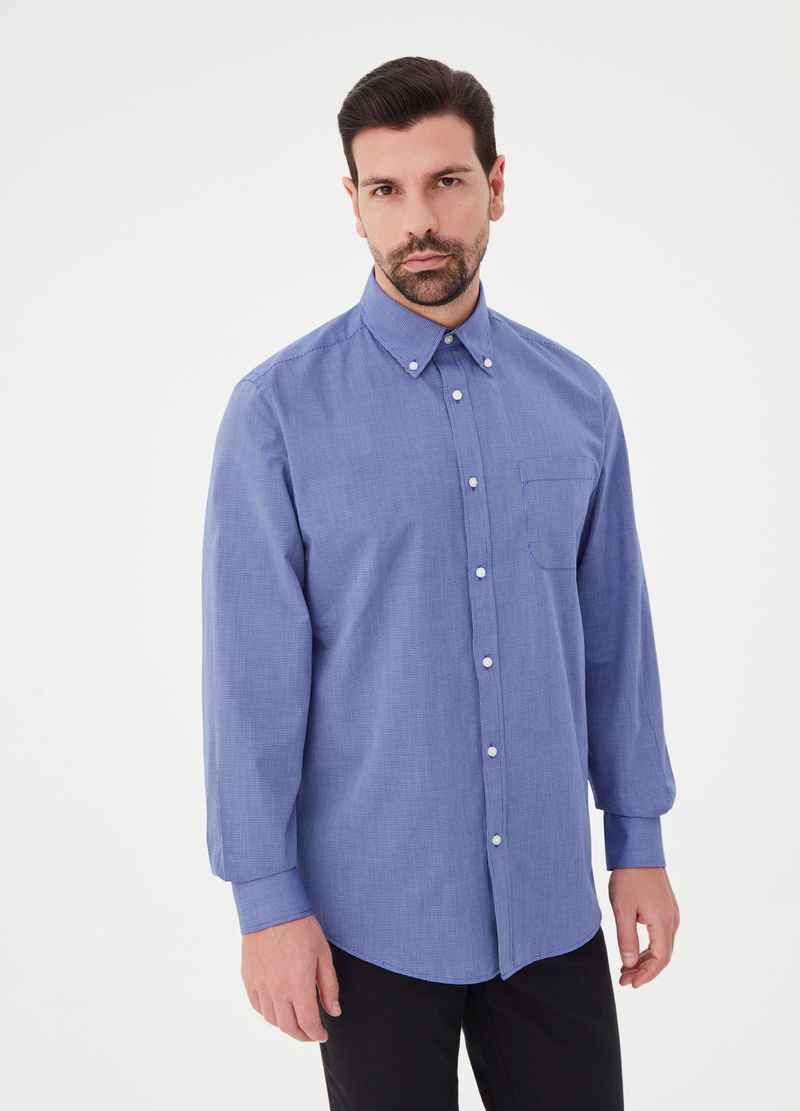 Regular-fit shirt in cotton blend poplin image number null