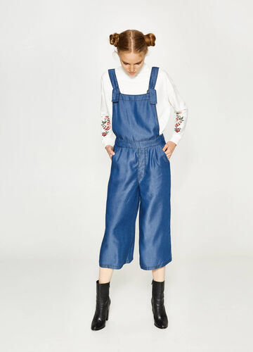 Solid colour lyocell dungarees