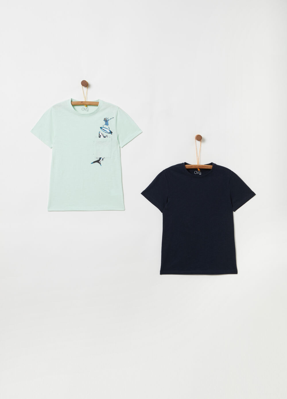 Two-pack T-shirts with ribbing, pocket and print