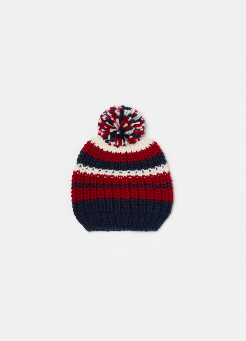 Jacquard striped hat with pompom image number null