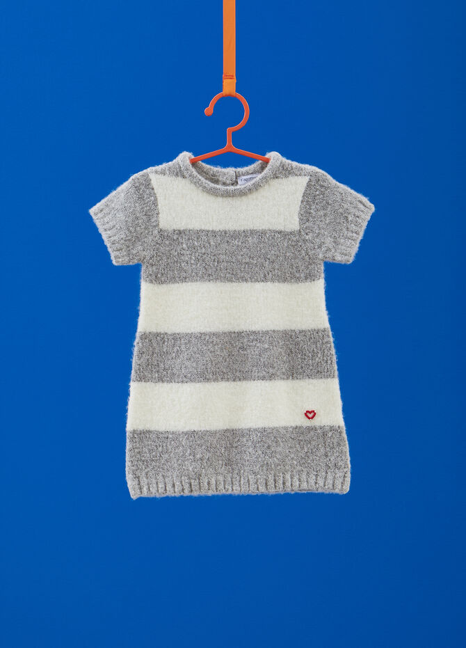 Vestitino stretch tricot fantasia a righe