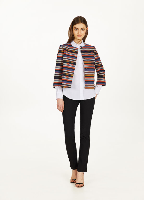 Striped crop blazer in blended cotton