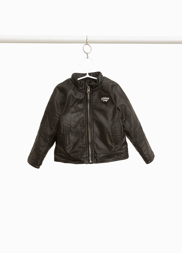 Leather-look jacket with patches