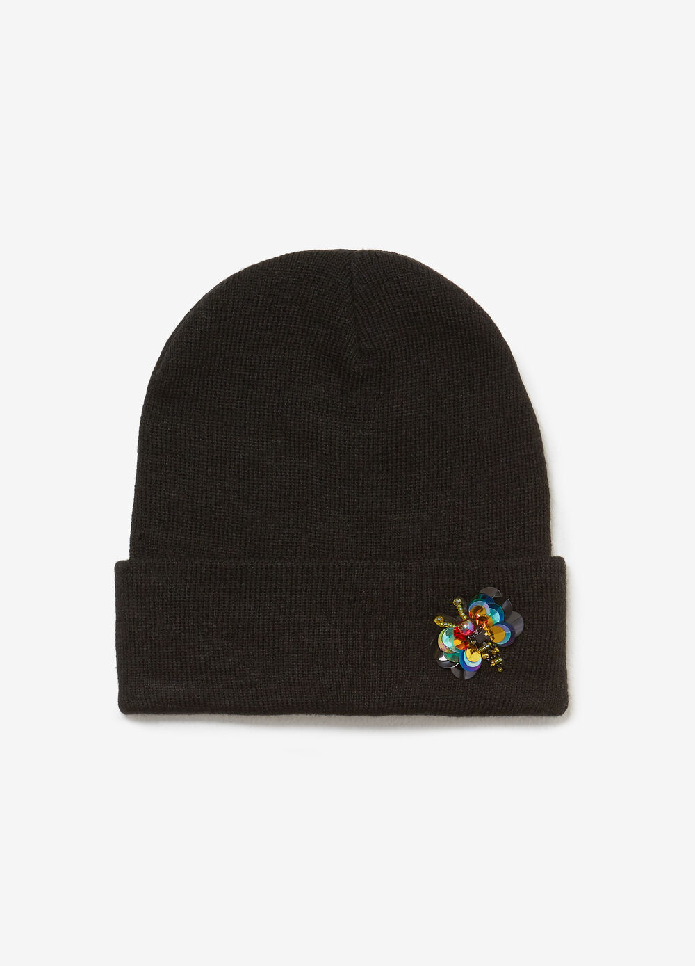 Knit hat with bee