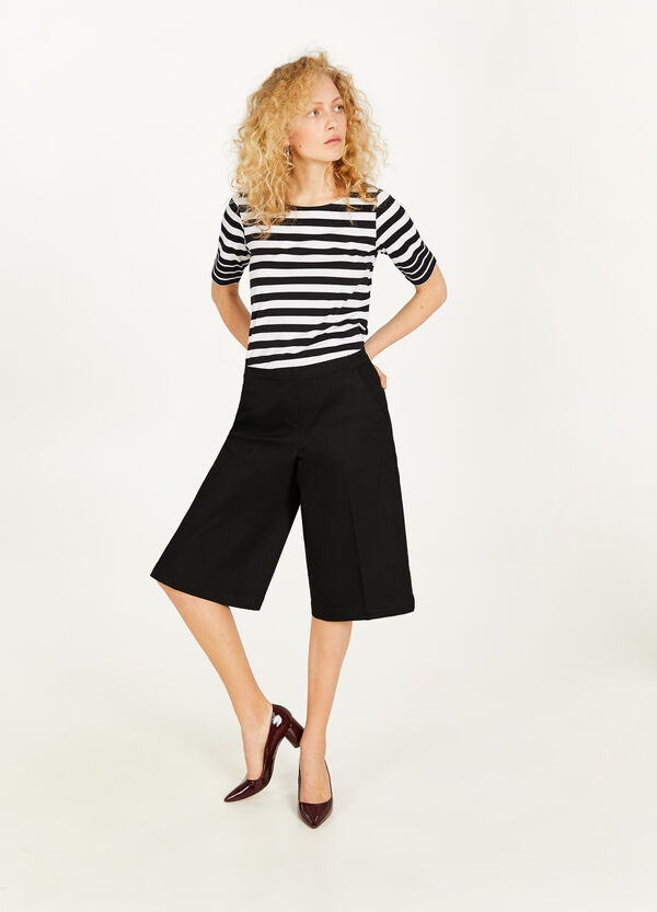 Stretch cotton blend crop trousers