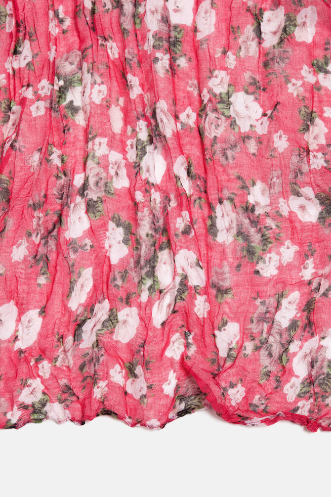 Creased effect floral scarf