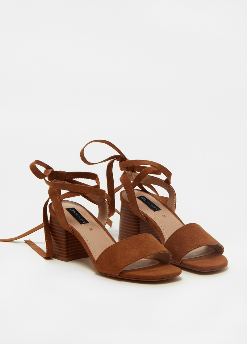 Suede sandal with laces image number null