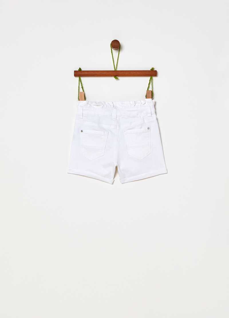 Solid colour stretch cotton shorts image number null