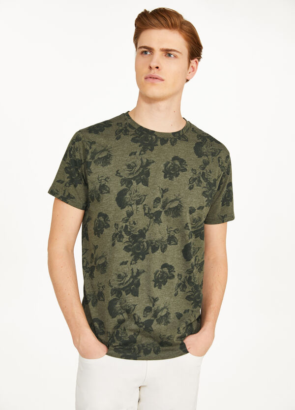 T-shirt misto cotone stampa floreale