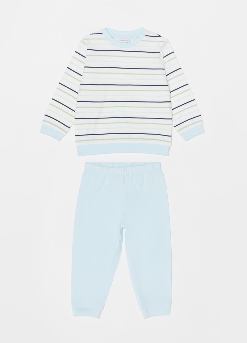 Striped pyjamas in 100% cotton image number null