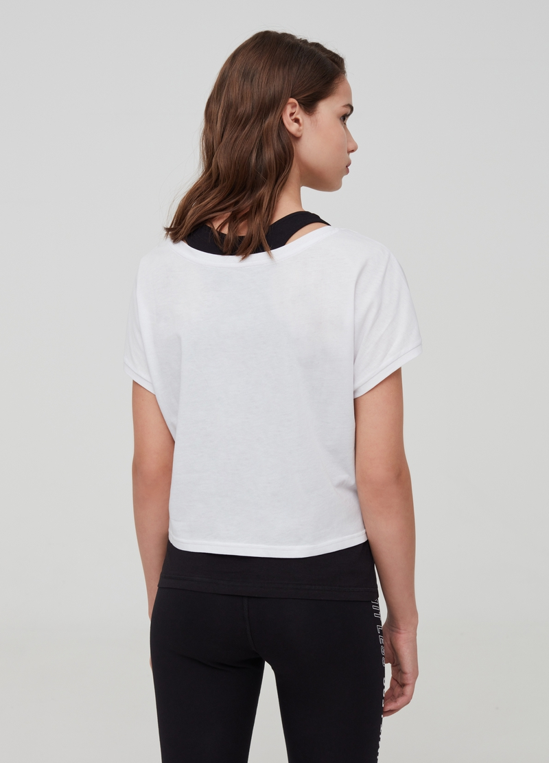 T-shirt crop con top e stampa image number null