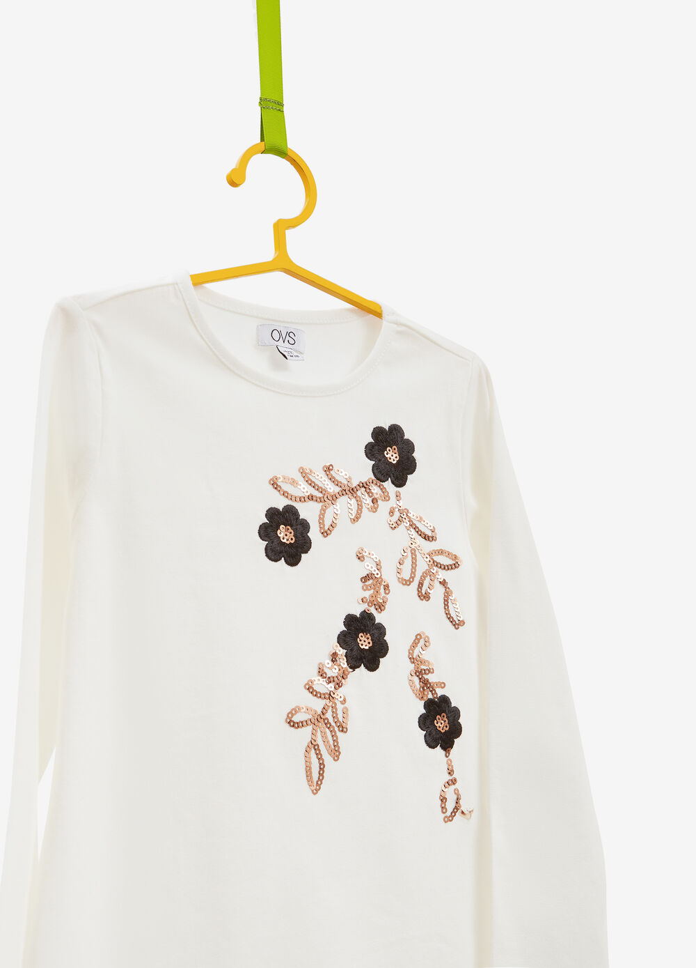 T-shirt cotone con paillettes e patch