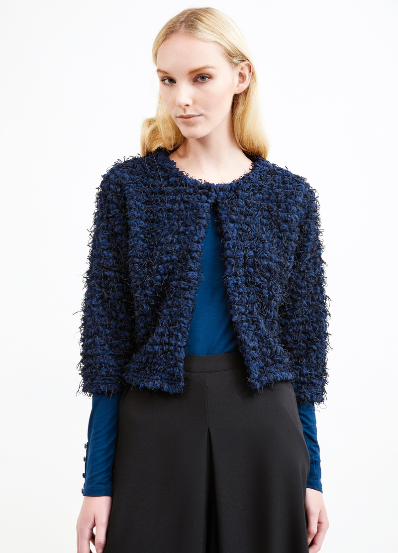 Knitted cropped cardigan image number null