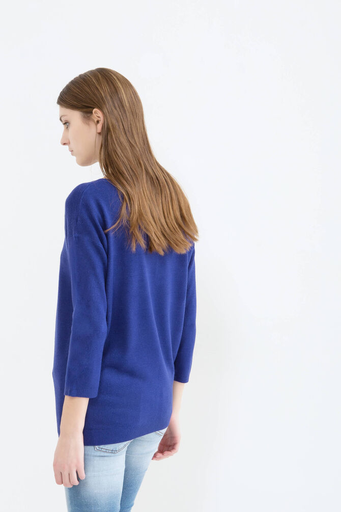 Solid colour ribbed pullover