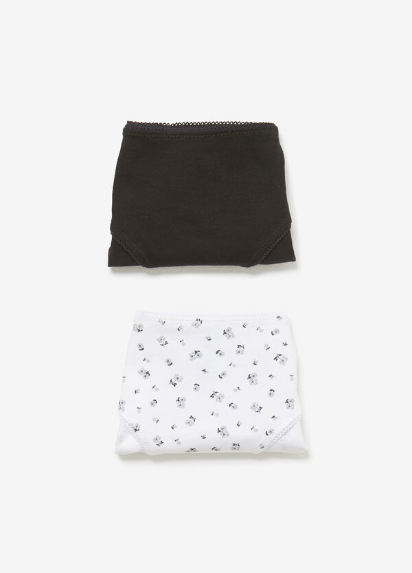Two-pack patterned and solid colour cotton briefs
