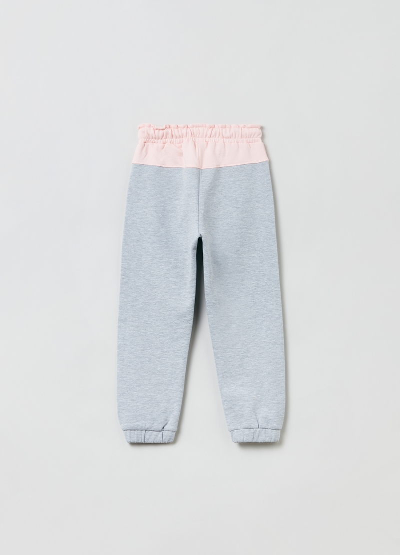 Mélange joggers with insert at the waist image number null