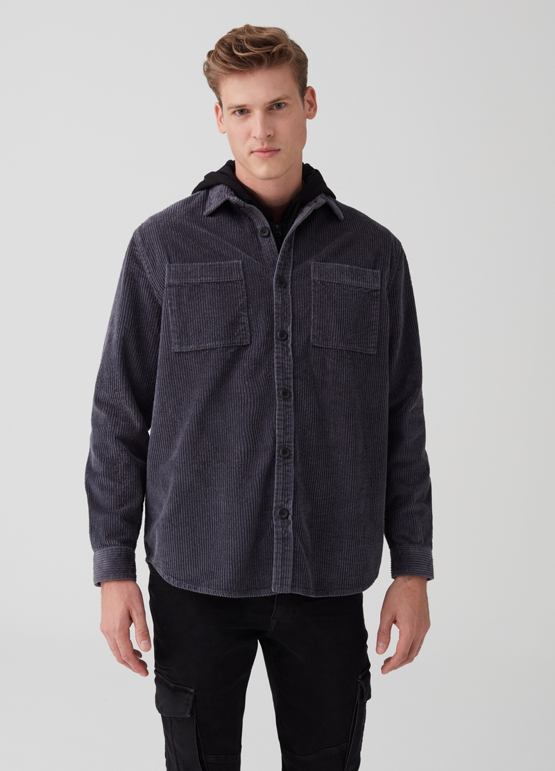 Velvet shirt with pockets image number null