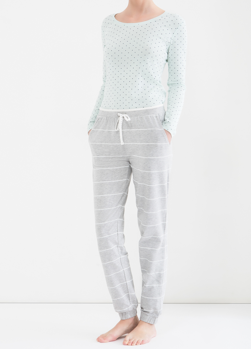 Stretch patterned pyjama trousers image number null