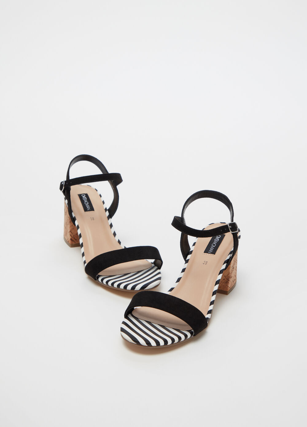 Sandals with flat chunky heel and strap