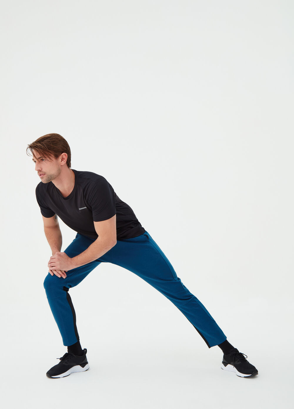 Cotton blend trousers with inserts