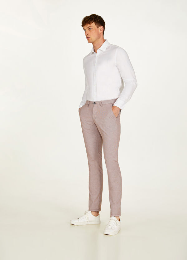 Slim fit, stretch chino trousers with micro polka dots