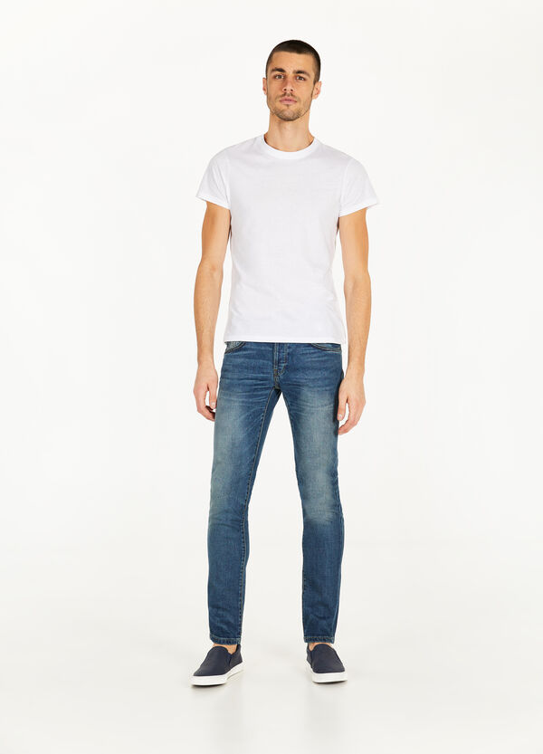 Slim fit stretch jeans with whiskering