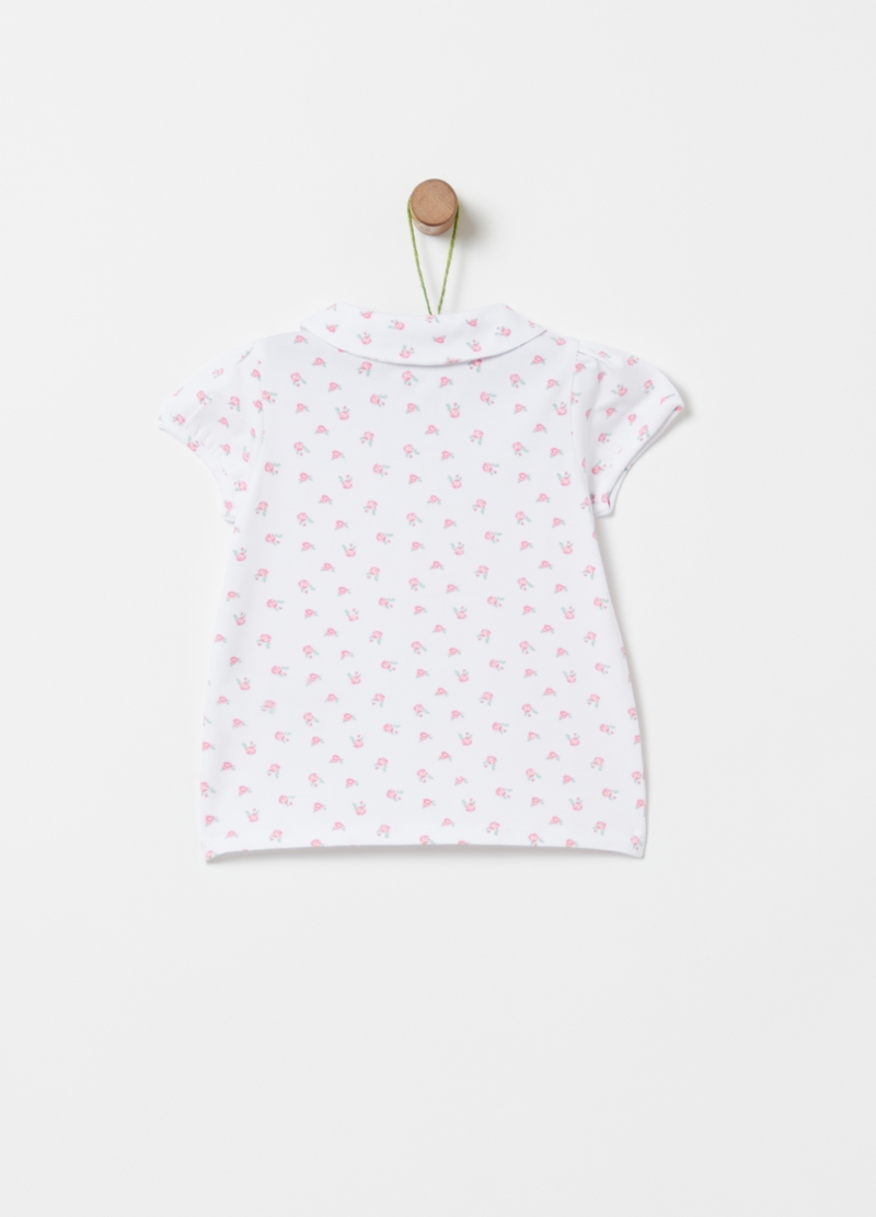Organic cotton polo shirt with small roses pattern image number null