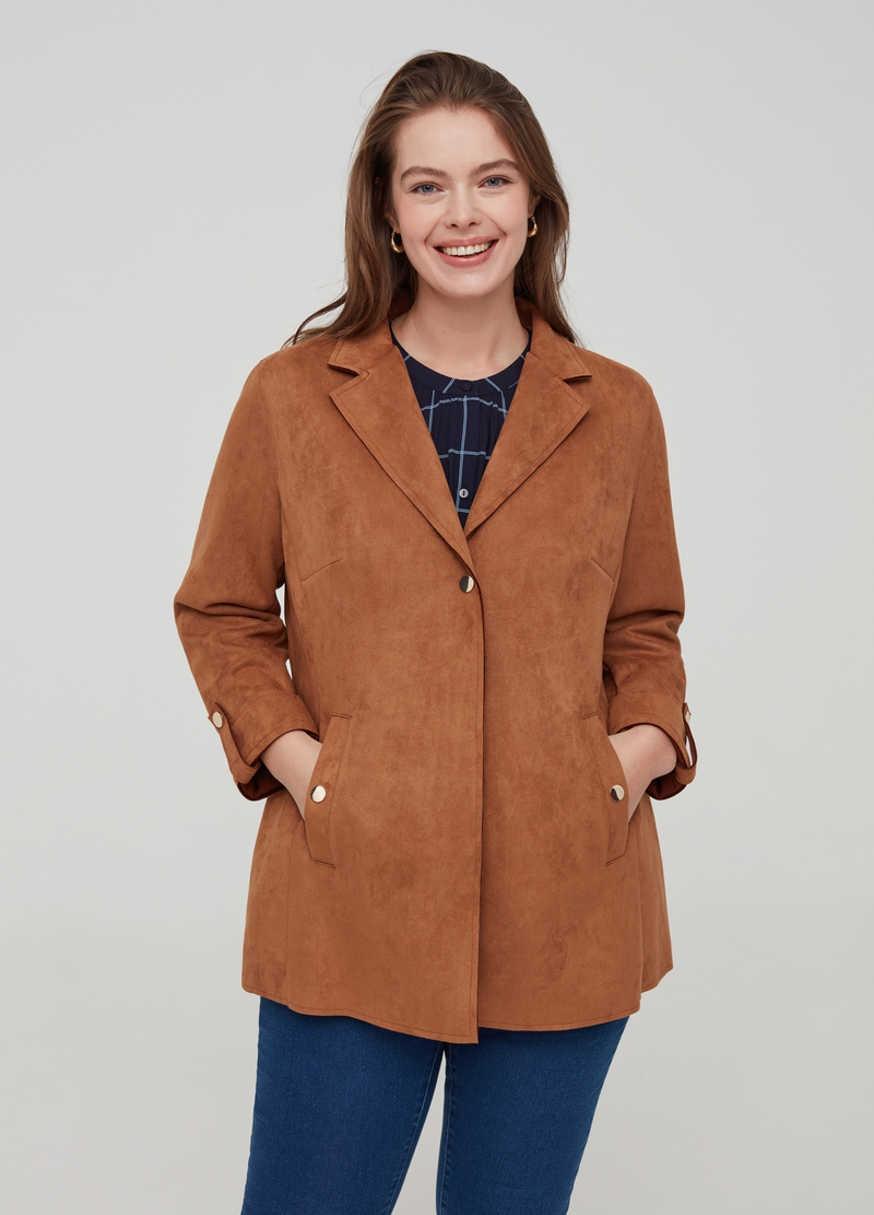 Curvy jacket in faux suede image number null
