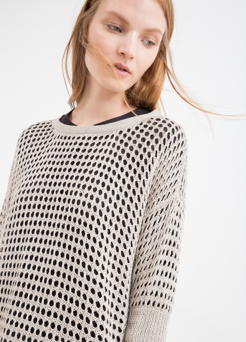 Solid colour openwork knit pullover image number null