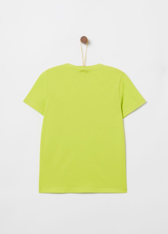100% cotton T-shirt with ribbing and print