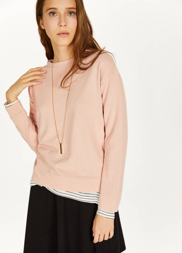 Viscose blend sweatshirt with striped weave