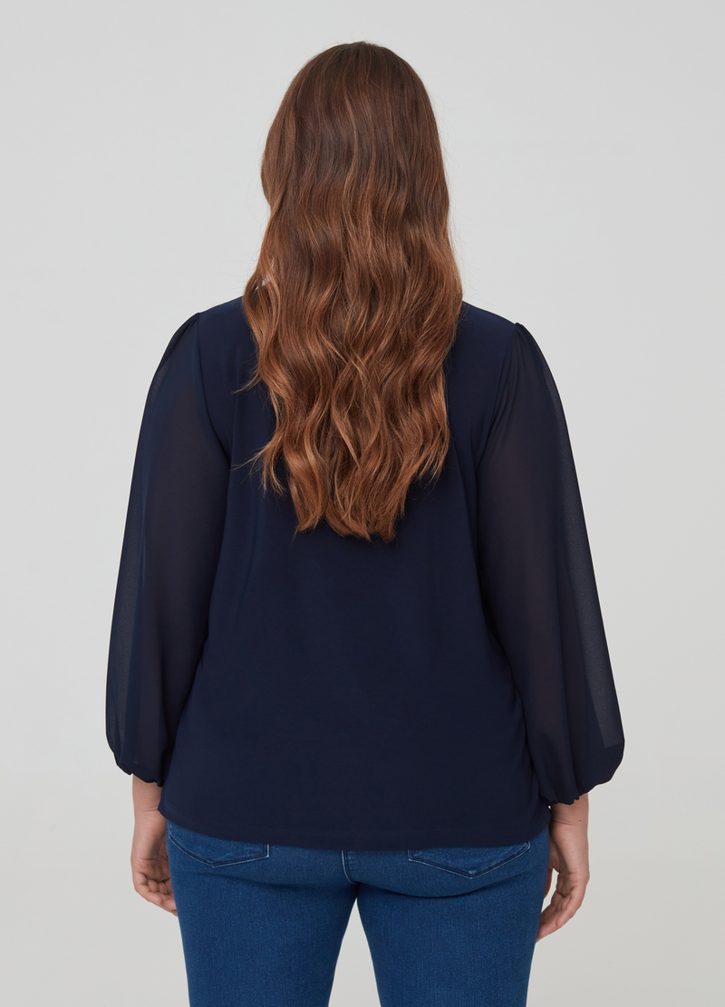 Curvy long-sleeved T-shirt with foulard image number null