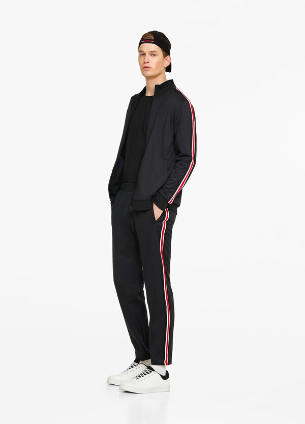 Sweatshirt with zip and striped bands