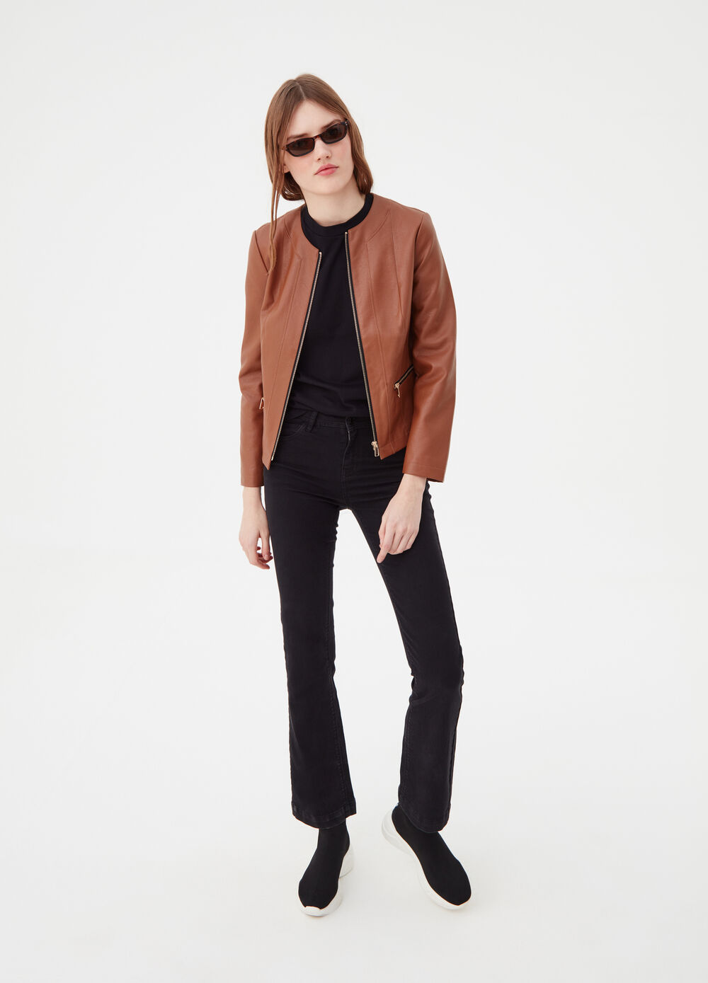 Leather-look jacket with zip pockets