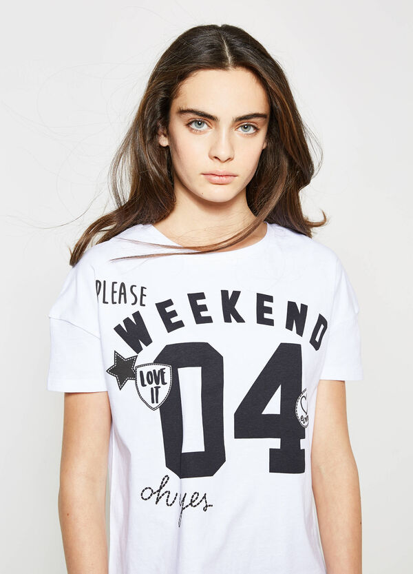 Teen T-shirt with print and patches | OVS