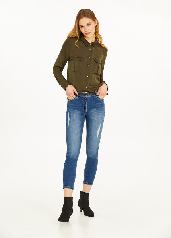 Cropped stretch jeans with rips