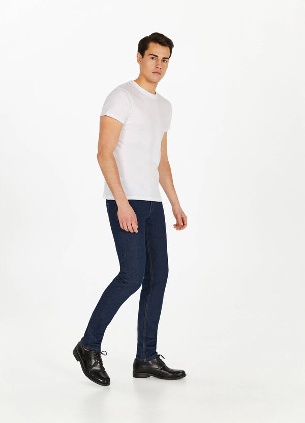 Jeans straight fit tinta unita cuciture