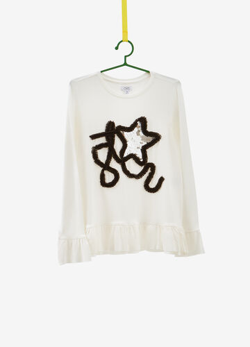 Stretch viscose T-shirt with sequins and flounce