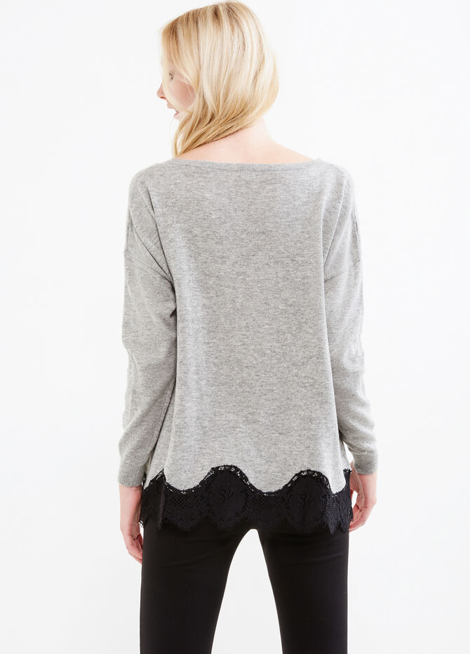 Wool blend pullover with lace