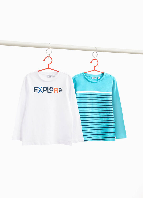 Two-pack T-shirts with lettering and stripes