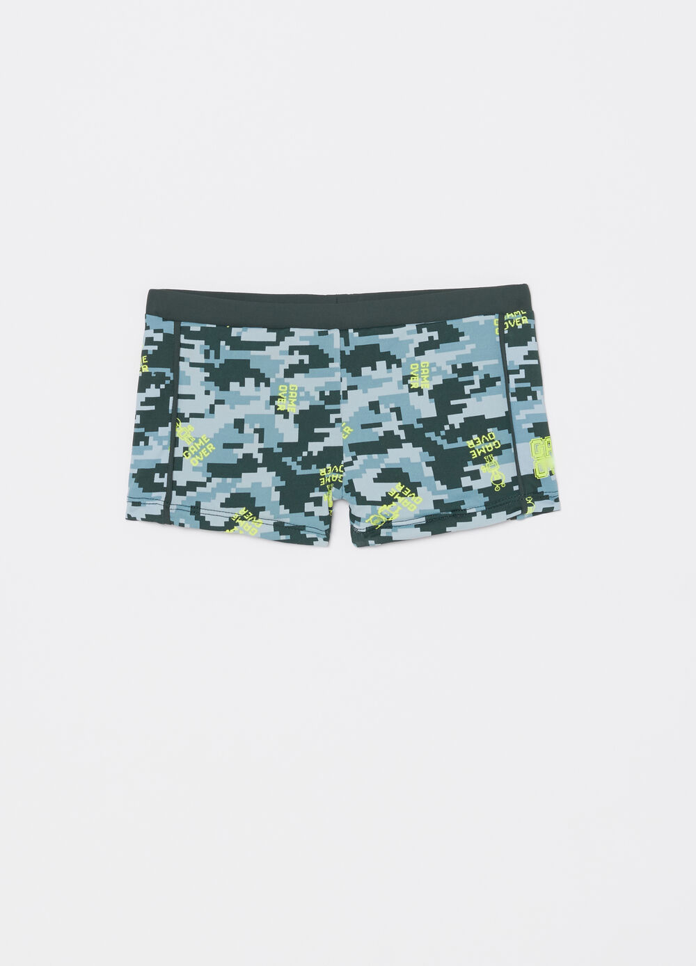 Camouflage patterned stretch swimming trunks