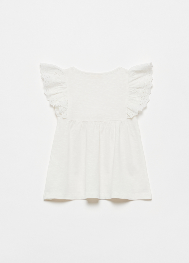 T-shirt in 100% cotton with broderie anglaise flounces image number null