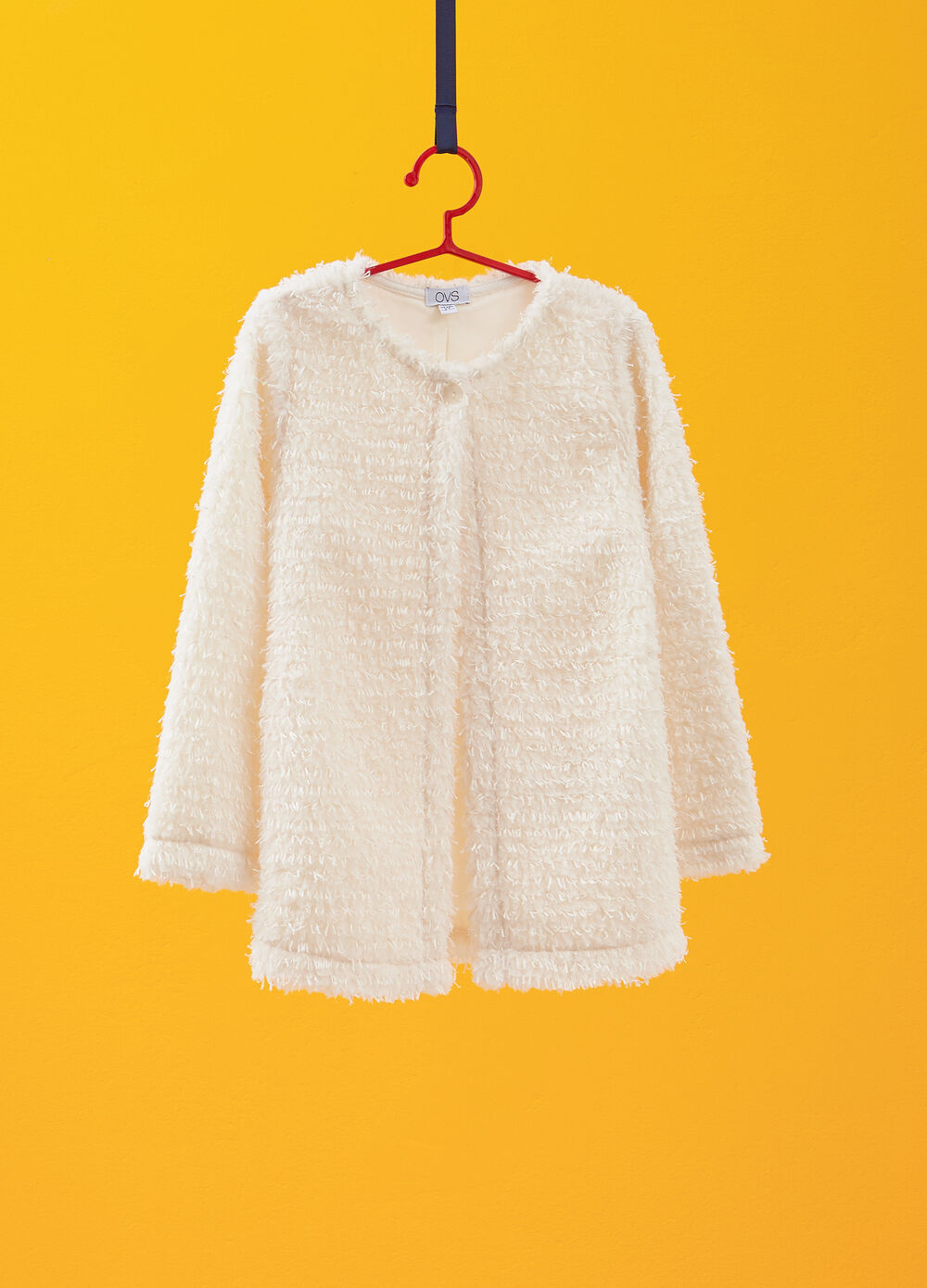 Knitted cardigan with frayed effect