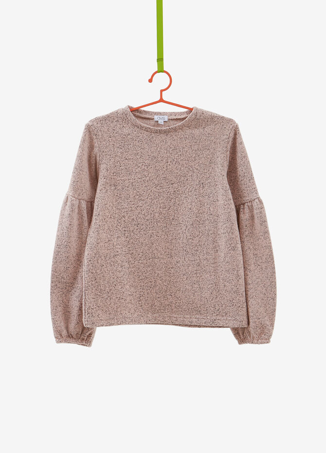 Pullover in cotton blend with short puffed sleeves