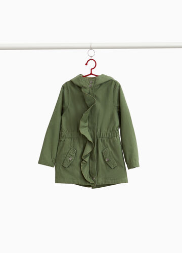 Parka in 100% cotton with flounce