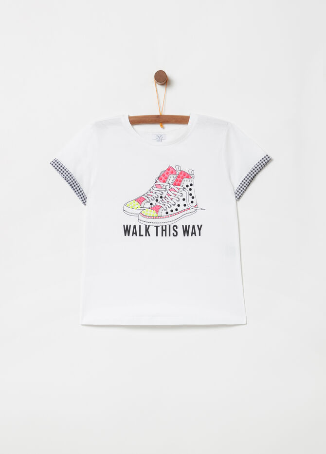 Lightweight jersey T-shirt with print and studs