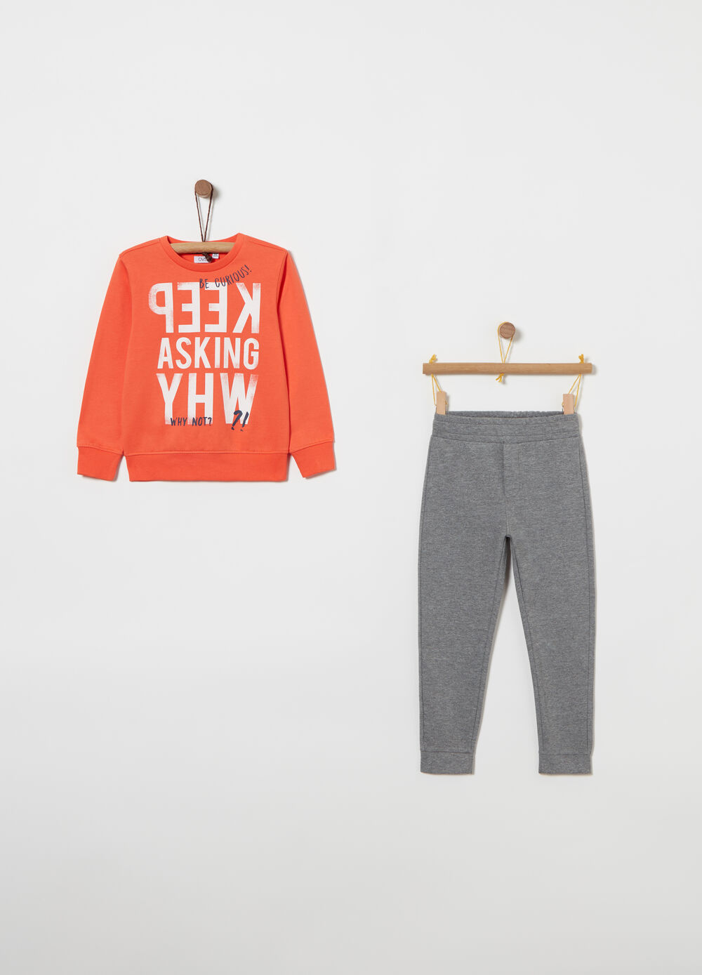 Jogging set in heavy fleece with lettering print