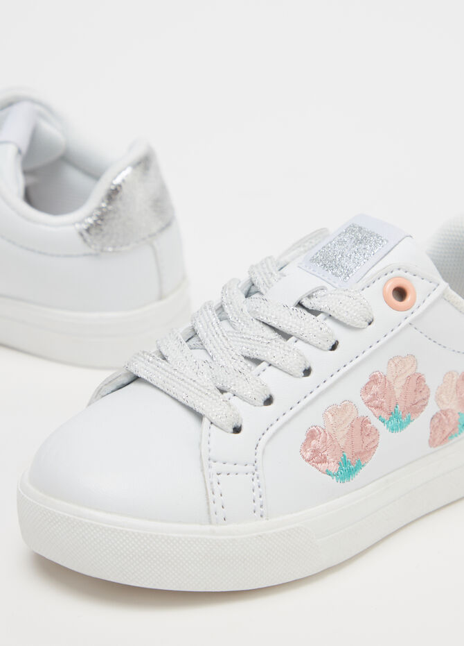 Sneakers with flower and glitter embroidery
